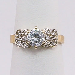 10K Yellow Gold Round CZ Butterfly Ladies Promise Ring