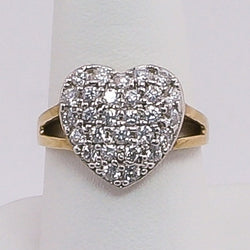 10K Yellow Gold Heart Cluster CZ Ring Size 8