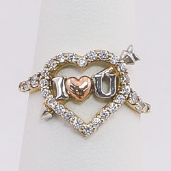 10K Gold Tri-Color Heart & Arrow I LOVE YOU CZ Ring Size 7