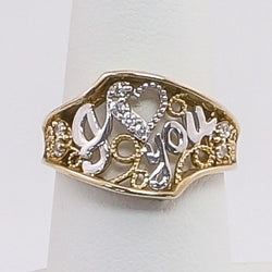 "10K Gold 2-Tone ""I LOVE YOU"" Script 4CZ Ring Size 7"