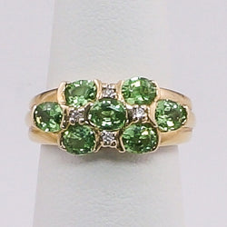 14K Yellow Gold Diamond & Pediot Ladies Ring
