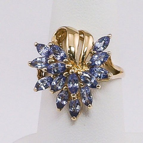 14K Yellow Gold Tanzanite Ladies Ring