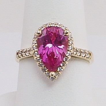 14K Yellow Gold CZ And Pink Pear Stone Ladies Ring