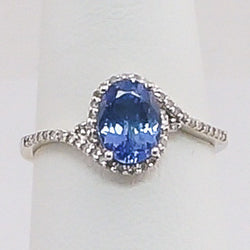 10K White Gold Synthetic Blue Sapphire & Diamond