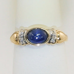 14K Yellow Gold Blue Moon Sapphire & Diamond Ring