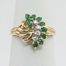 10K Yellow Gold Emerald & Diamond Ladies Ring