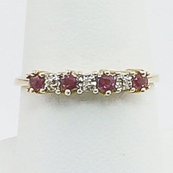 10K Yellow Gold Ruby and Diamond Ladies Ring