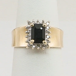 14K Yellow Gold Diamond Sapphire Ring
