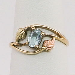 14K Yellow Gold Aquamarine Ladies Ring