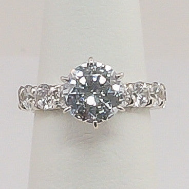14K White Gold CZ Eternity Engagement Ring