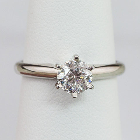 14K White Gold .75CT Round SI2 I1 F/G Diamond Ring