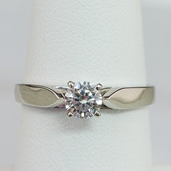 14K White Gold .32CT SI1,H Round Diamond Ladies Ring