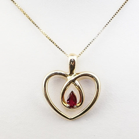 14K Yellow Gold Pear Ruby  Heart Pendant
