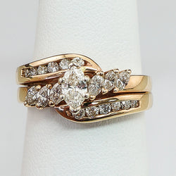 14K Yellow Gold .75CT TWT  .31CT MARQ. Center Wedding Set