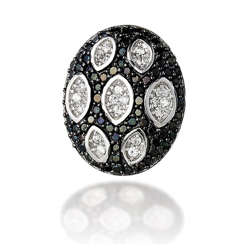 Sterling Silver black CZ with white CZ groove earrings