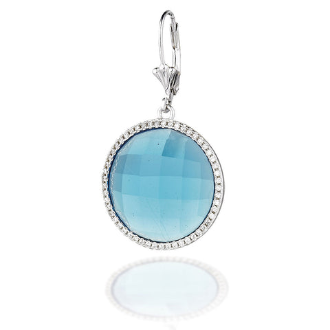 Sterling Silver round blue earring center with white CZ halo
