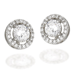 Sterling Silver earrings with a white CZ center and a white CZ halo