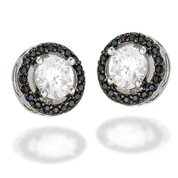 Sterling Silver earrings with a white CZ center and a black CZ halo