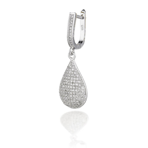 Sterling Silver pear shape micro CZ drop earrings