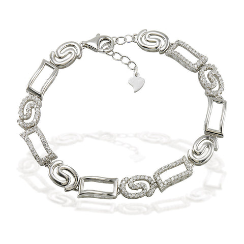 "7.5"" rectangle and swirl link bracelet with white CZ accents and 1"" adjustable links"