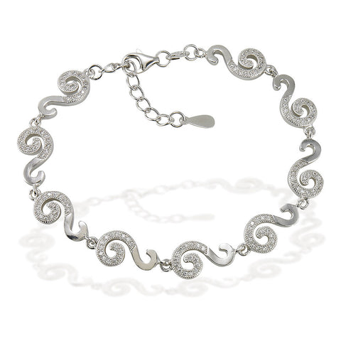 "7.5"" S link bracelet with white CZ accents on half link and 1"" adjustable links"
