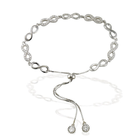 "7.5"" adjustable length bracelet with alternating white CZ and silver infinity signs with two bezel CZ ends"