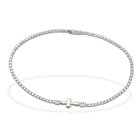 "7.5"" Sterling Silver and white CZ tennis bracelet with high polished cross in center"