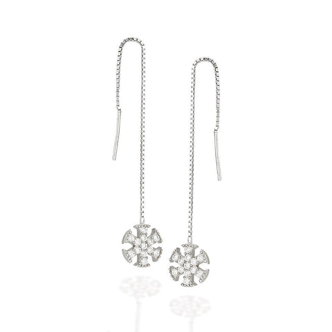 Sterling Silver white CZ flake with halo threader earrings