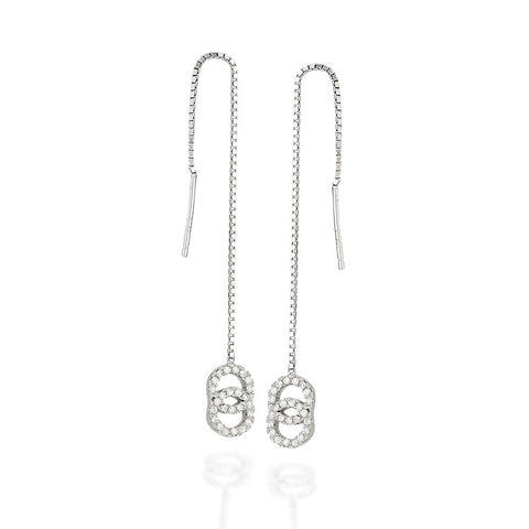 Sterling Silver double circle white CZ with halo threader earrings