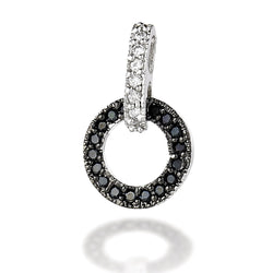 Sterling Silver black CZ circle dangle earring with white CZ