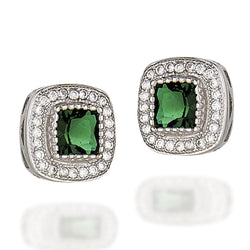 Sterling Silver earrings with princess synthetic emerald and a white CZ halo