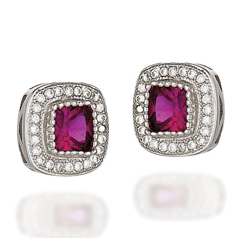 Sterling Silver earrings with princess synthetic ruby and a white CZ halo