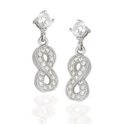 Sterling Silver round white CZ stud earrings with dangle CZ infinity symbol