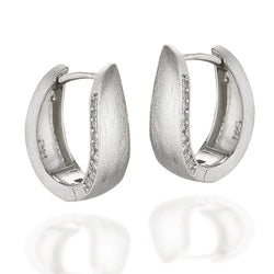 Sterling Silver art deco design with brushed front hoops with white CZs along one sides edge