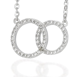 "Sterling Silver white CZs double circle necklace with a 16"" chain and 2"" extension"