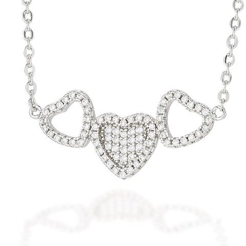 "Sterling Silver triple heart necklace with white CZ solid center heart and white CZ heart outline on either side on a 16"" chain with 2"" extension"