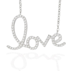 "Sterling Silver necklace with love in white CZs on a 16"" chain with 2"" extension"
