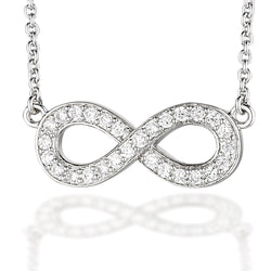 "Sterling Silver CZ Infiniti necklace on 18"" chain"