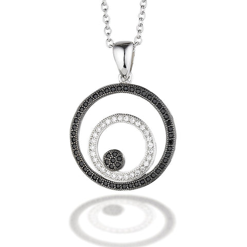 "Sterling Silver with white and black micro CZ circle pendant on 18"" chain"
