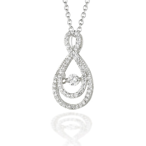 "Sterling Silver double pear CZ bezel with dancing CZ center on 18"" chain"