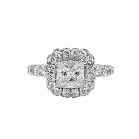 14K White Gold Engagement Ring TWT 0.85 CT.