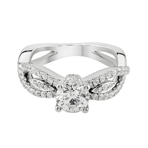 14K White Gold Engagement Ring TWT 0.55 CT.