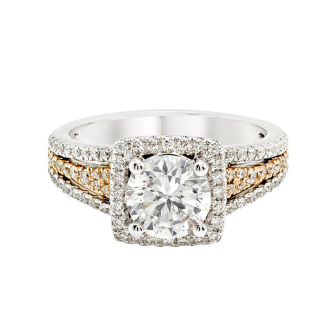 14K White and Rose Gold Engagement Ring TWT 0.55 CT.