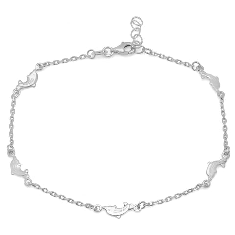 "Sterling Silver Laguna Dolphin Anklet (9"" + 1"" extension)"