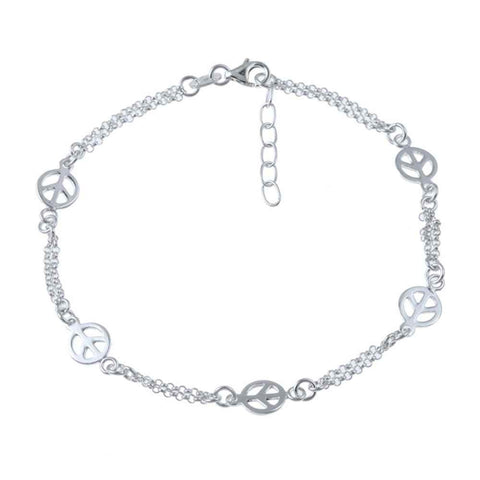 "Sterling Silver Peace 9+1"" Sign Anklet"