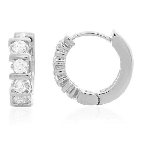 STERLING Silver PRONG SET ROUND CZ HUGGIEEarring