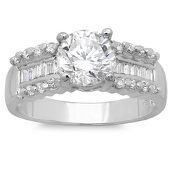 Sterling Silver Channel Set Baguette and Round CZ Engagement Ring