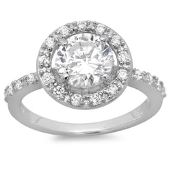 Sterling Silver Round CZ with Halo Engagement Ring