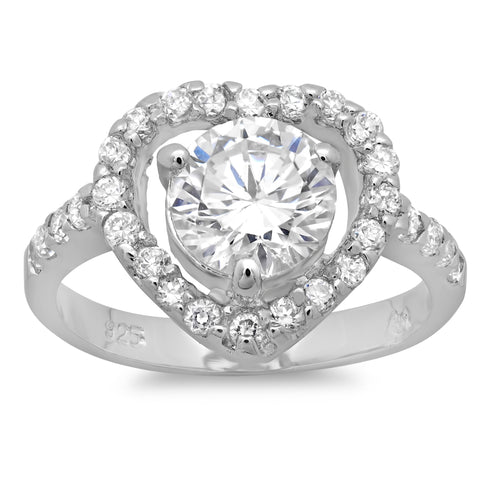 Sterling Silver Pave and Prong-Set Round CZ Solitaire Heart Ring