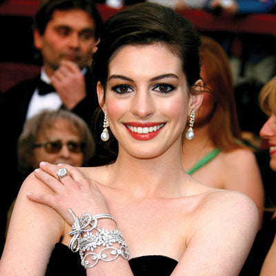 Anne Hathaway wearing Stacking Bracelets